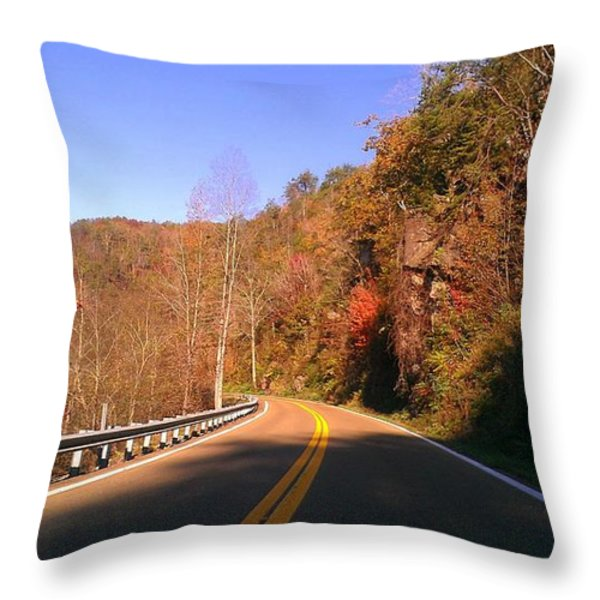 North Carolina Road 1 Throw Pillow by Lew Davis
