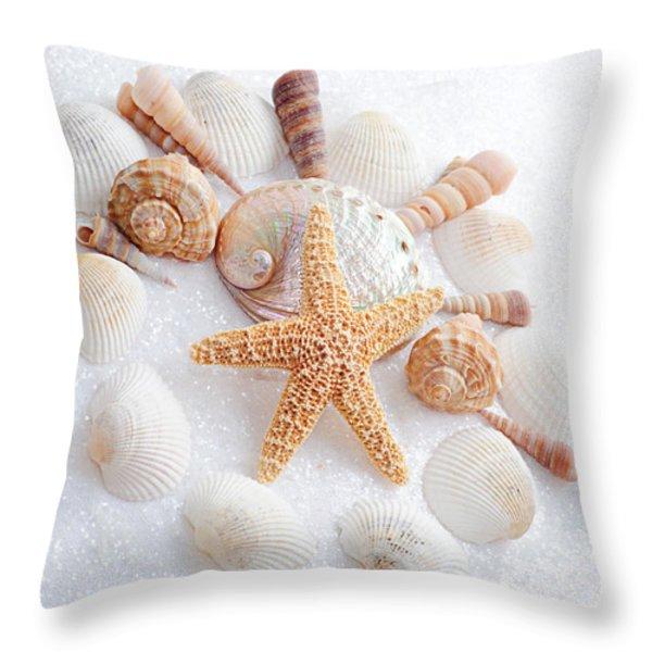 North Carolina Sea Shells Throw Pillow by Andee Design