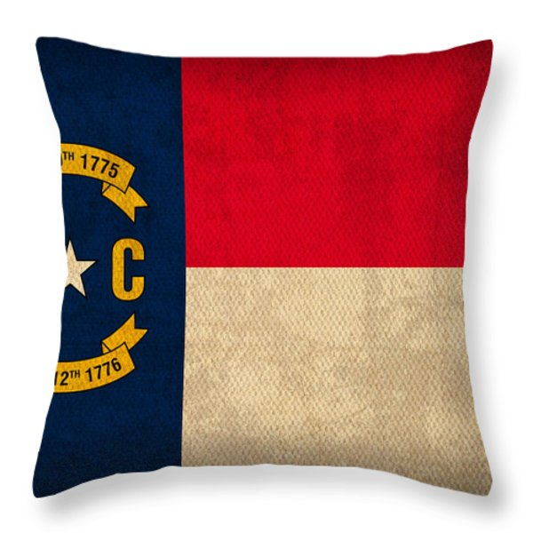 North Carolina State Flag Art On Worn Canvas Throw Pillow by Design Turnpike