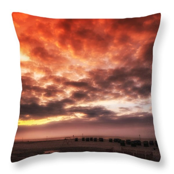 North Sea Sunset Throw Pillow by Mountain Dreams