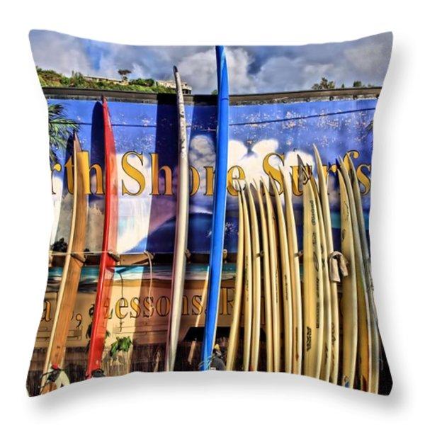 North Shore Surf Shop Throw Pillow by DJ Florek