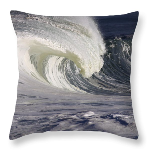 North Shore Wave Curl Throw Pillow by Vince Cavataio