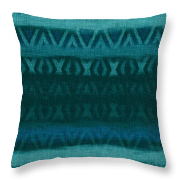 Northern Teal Weave Throw Pillow by CR Leyland