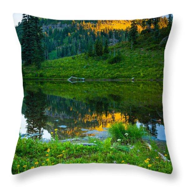 Northwest Sunrise Throw Pillow by Inge Johnsson