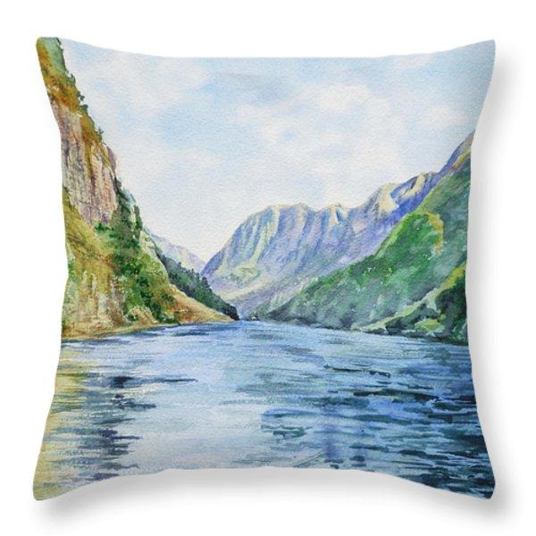 Norway Fjord Throw Pillow by Irina Sztukowski