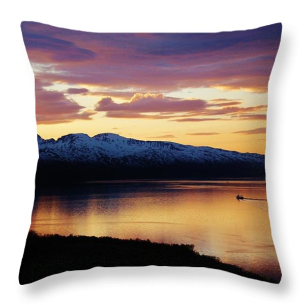 Norwegian Fjordland Sunset Throw Pillow by David Broome