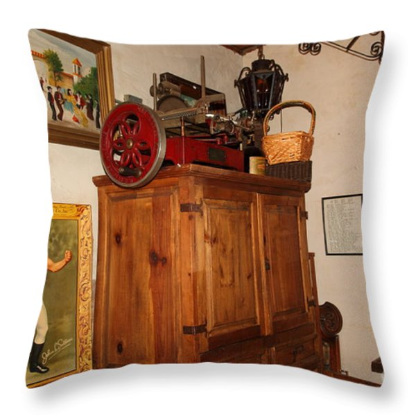 Nostalgic Corner In The Cellar Room At the Swiss Hotel In Sonoma California 5D24442 Throw Pillow by Wingsdomain Art and Photography
