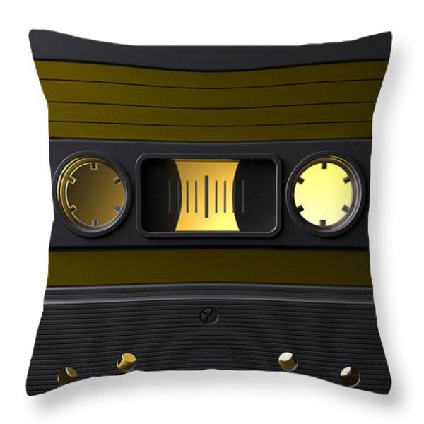 Nostalgic Macro Cassette Tape Throw Pillow by Allan Swart