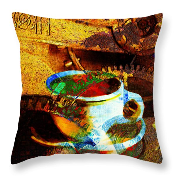 Nothing Like A Hot Cuppa Joe In The Morning To Get The Old Wheels Turning 20130718 Throw Pillow by Wingsdomain Art and Photography