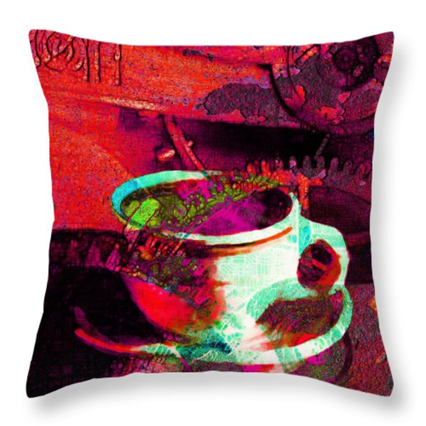 Nothing Like A Hot Cuppa Joe In The Morning To Get The Old Wheels Turning 20130718m43 Throw Pillow by Wingsdomain Art and Photography