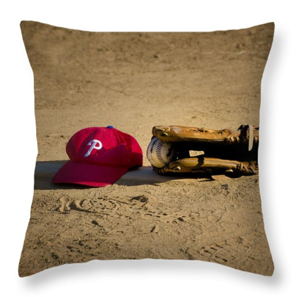 Now Pitching for the Phillies Throw Pillow by Bill Cannon