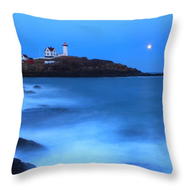Nubble Lighthouse Full Moon Tide Throw Pillow by John Burk