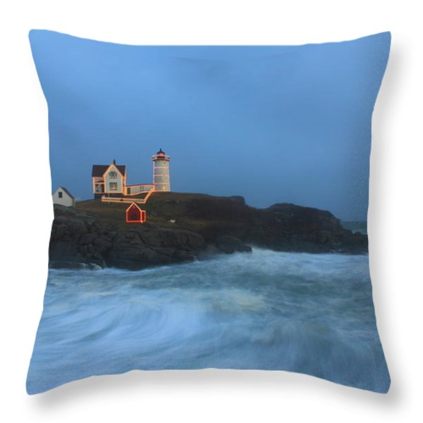 Nubble Lighthouse High Surf And Holiday Lights Throw Pillow by John Burk