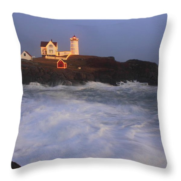 Nubble Lighthouse Holiday Lights And High Surf Throw Pillow by John Burk