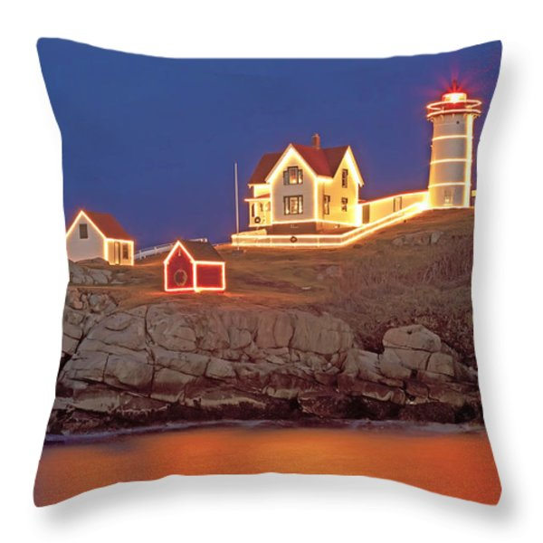 Nubble Lighthouse-Holiday lights Throw Pillow by John Vose
