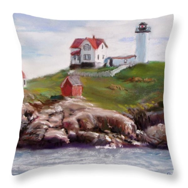 Nubble Lighthouse In Pastel Throw Pillow by Jack Skinner