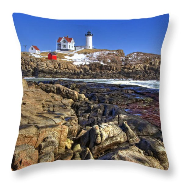 Nubble Lighthouse Throw Pillow by Joann Vitali