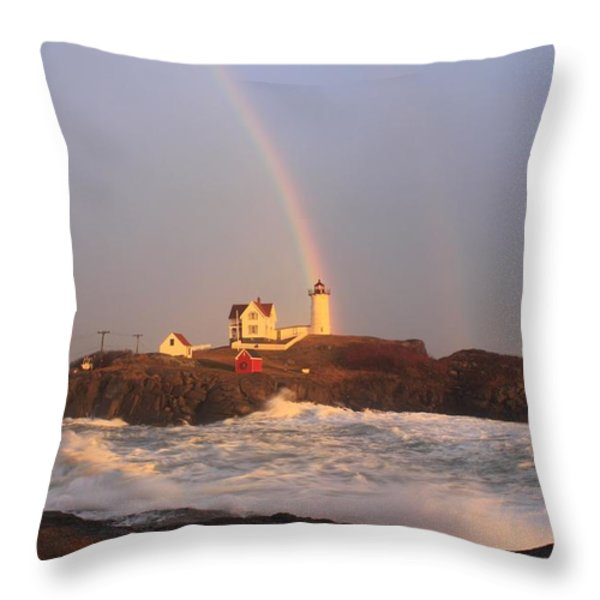 Nubble Lighthouse Rainbow and High Surf Throw Pillow by John Burk