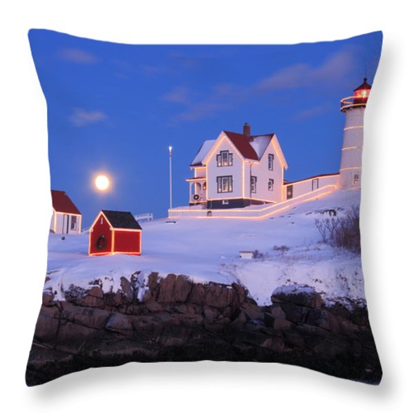 Nubble Lighthouse Winter Moon Throw Pillow by John Burk