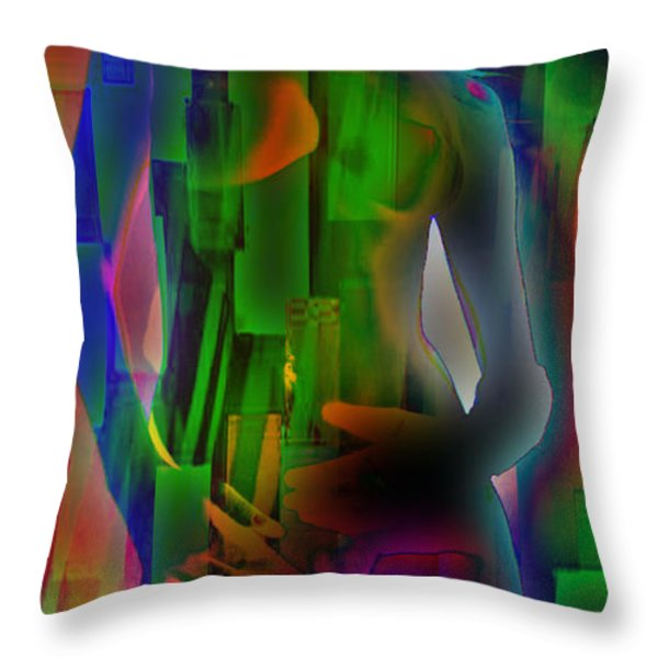Nude In Green Throw Pillow by M and L Creations