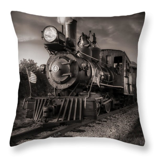 Number 4 Narrow Gauge Railroad Throw Pillow by Bob Orsillo