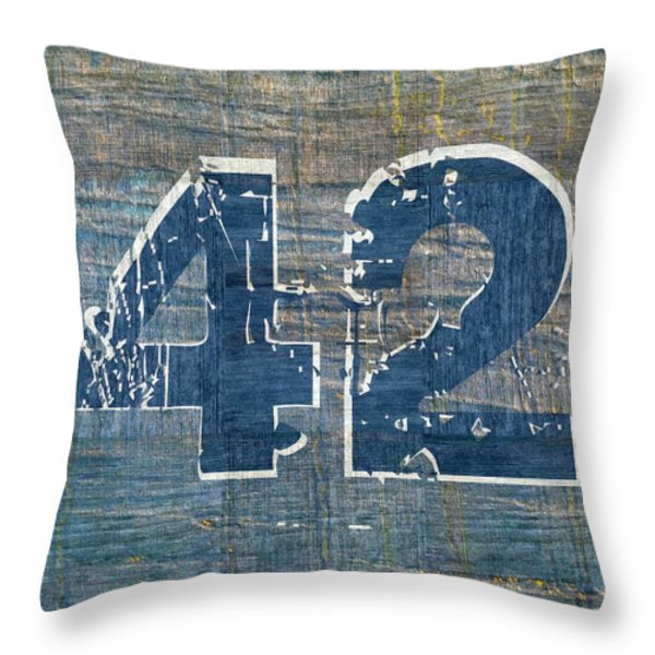 Number 42 Throw Pillow by Michelle Calkins