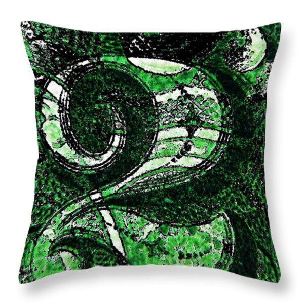 Number Two In Green  Throw Pillow by Chris Berry