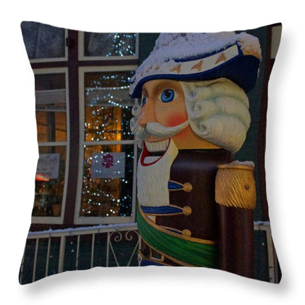 Nutcracker Statue In Downtown Grants Pass Throw Pillow by Mick Anderson