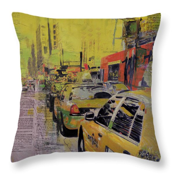 Ny City Collage Throw Pillow by Corporate Art Task Force