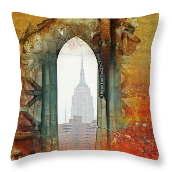 NYC Abstract Collage Throw Pillow by Anahi DeCanio