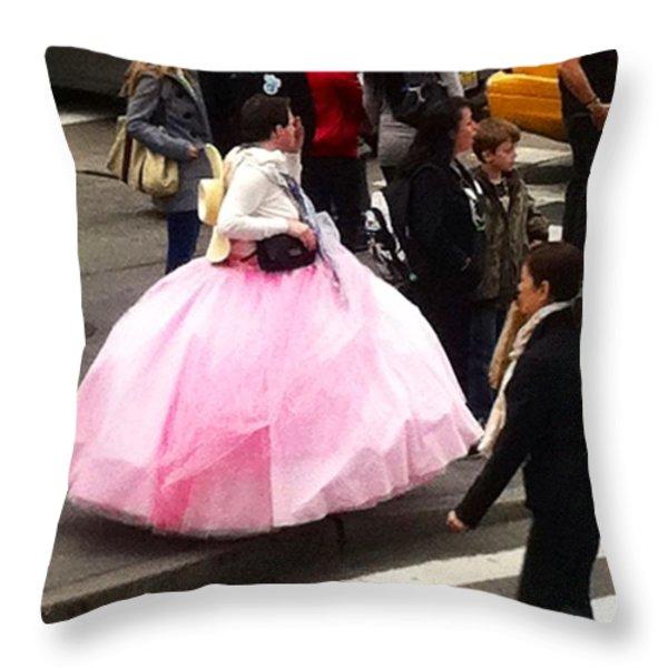 NYC Ball Gown Walk Throw Pillow by Susan Garren