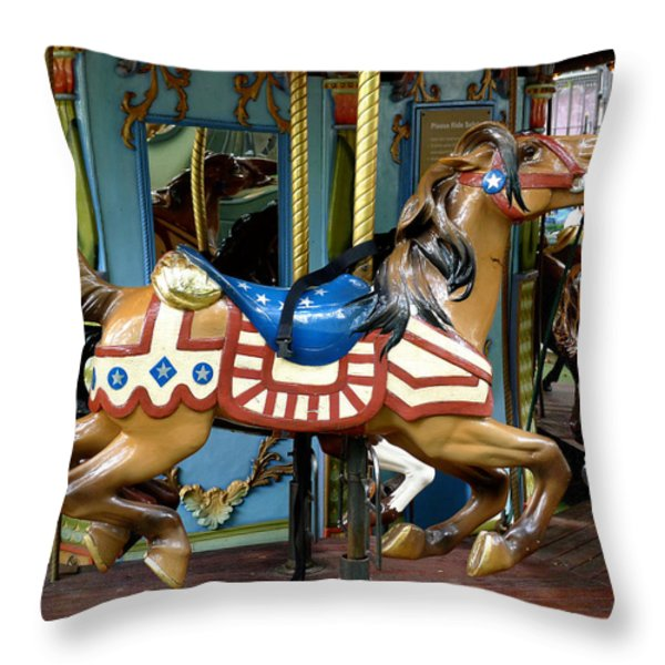 NYC - Old Glory Pony Throw Pillow by Richard Reeve
