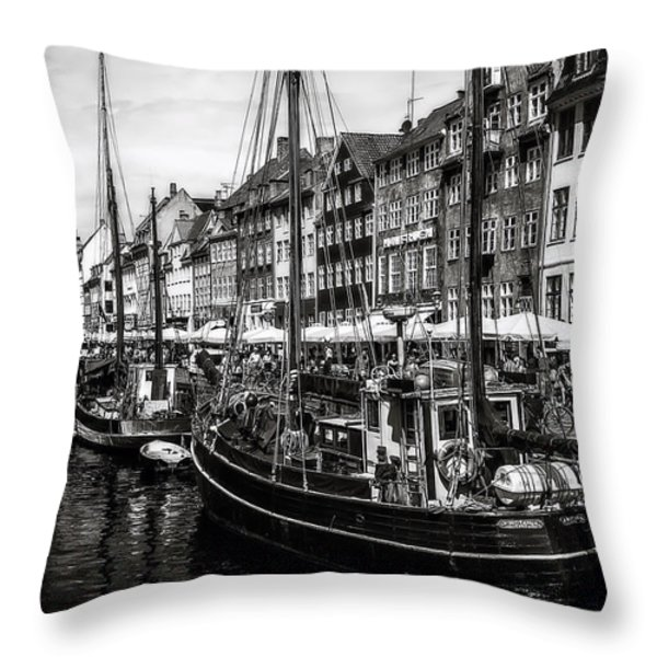 Nyhavn Harbor Throw Pillow by Erik Brede