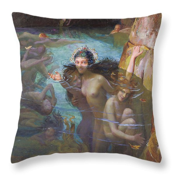 Nymphs At A Grotto Throw Pillow by Gaston Bussiere