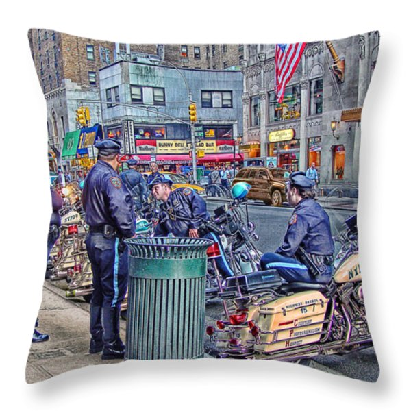 NYPD Highway Patrol Throw Pillow by Ron Shoshani