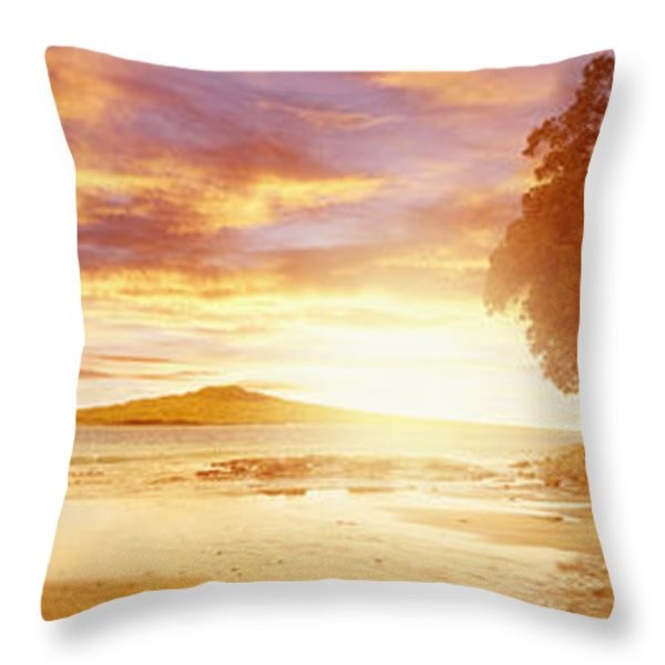 NZ sunlight Throw Pillow by Les Cunliffe