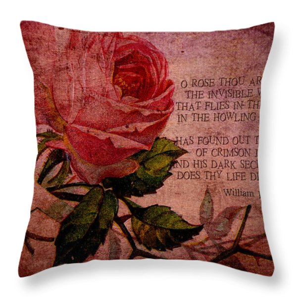O Rose Thou Art Sick Throw Pillow by Sarah Vernon