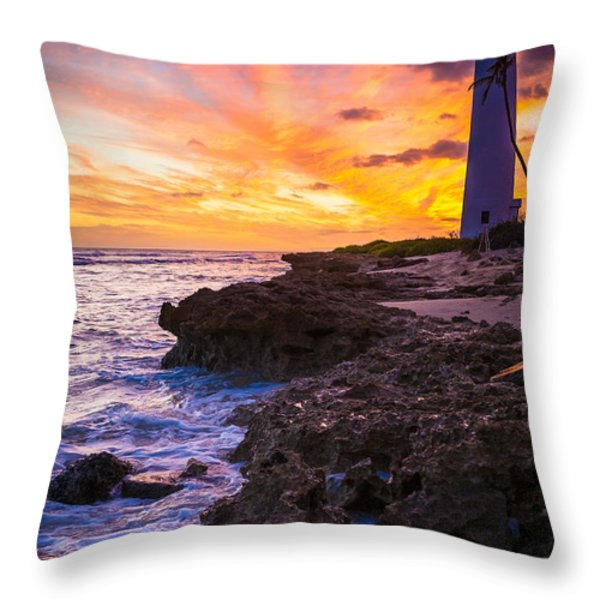Oahu Lighthouse Throw Pillow by Inge Johnsson