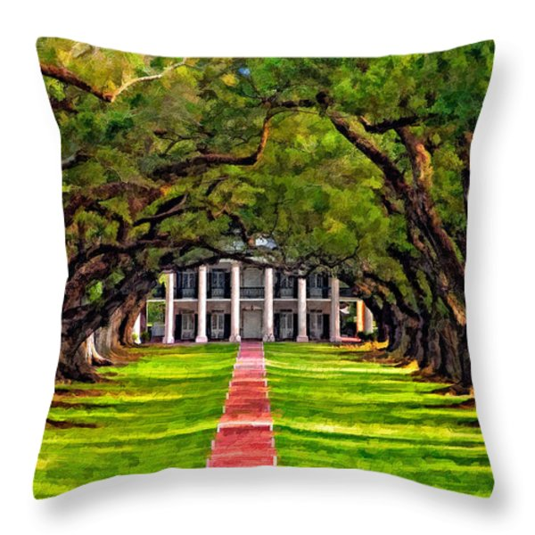 Oak Alley paint version Throw Pillow by Steve Harrington