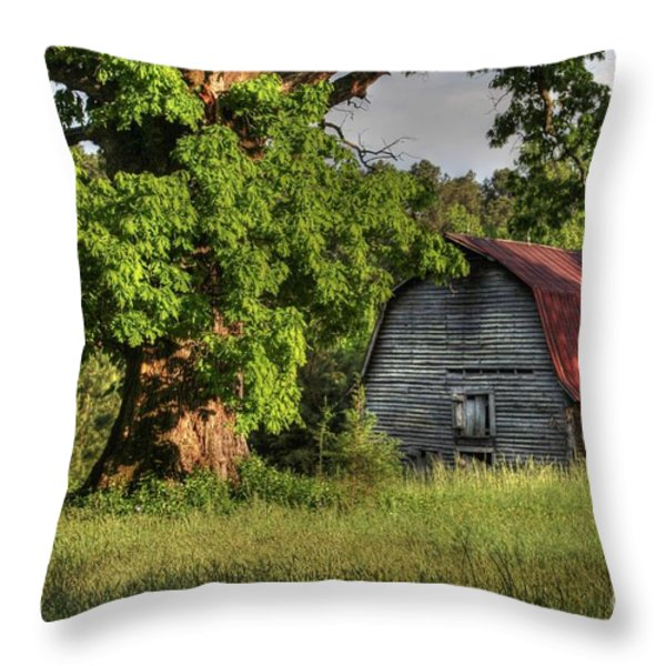 Oak Framed Barn Throw Pillow by Benanne Stiens