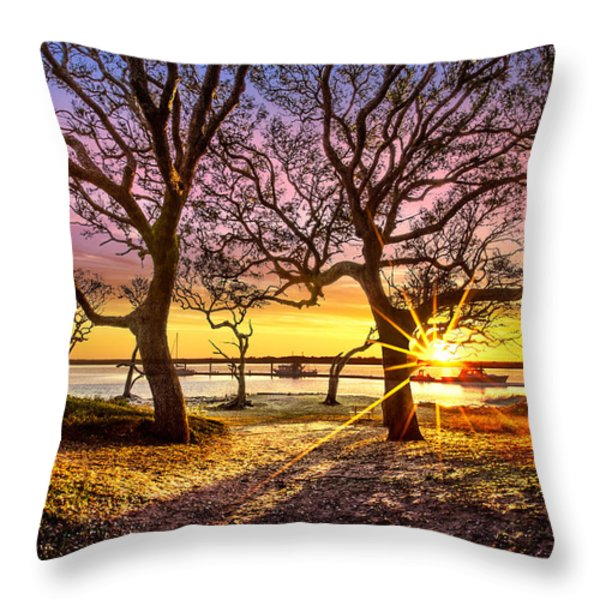 Oak Trees At Sunrise Throw Pillow by Debra and Dave Vanderlaan