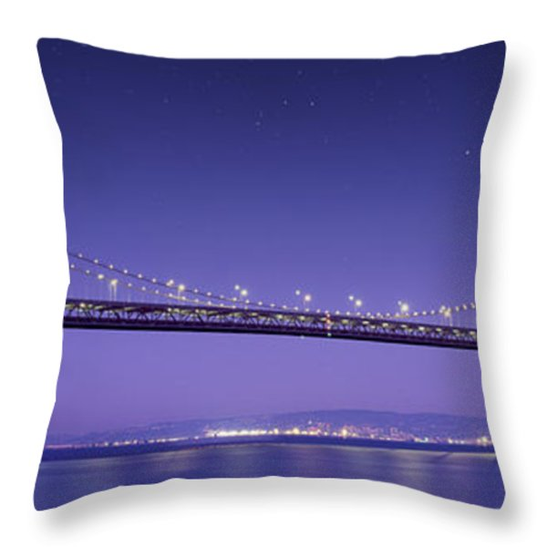 Oakland Bay Bridge Throw Pillow by Aged Pixel