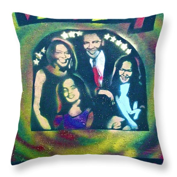 Obama Family Victory Throw Pillow by TONY B CONSCIOUS