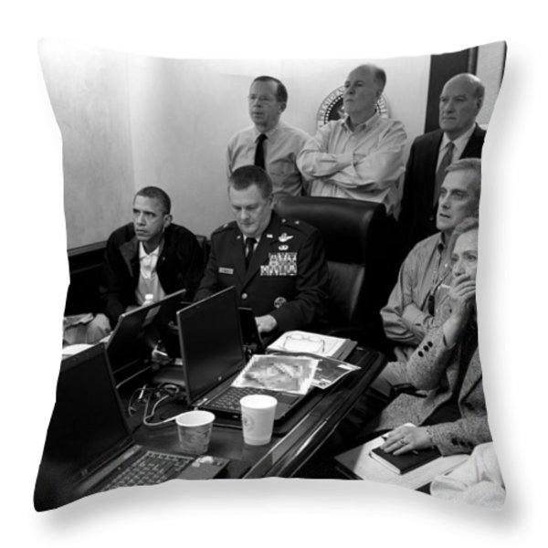 Obama In White House Situation Room Throw Pillow by War Is Hell Store