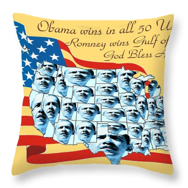 Obama Victory Map America 2012 - Poster Throw Pillow by Peter Fine Art Gallery  - Paintings Photos Digital Art