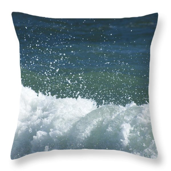 Ocean Blue Surf Throw Pillow by adspice studios