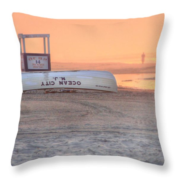 Ocean City Beach Patrol Throw Pillow by Lori Deiter