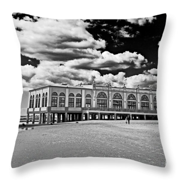 Ocean City Music Pier In Black And White Throw Pillow by Tom Gari Gallery-Three-Photography