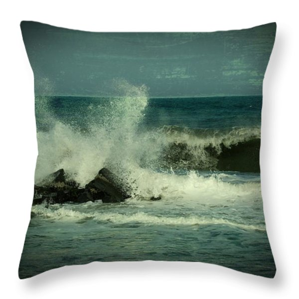 Ocean Impact - Jersey Shore Throw Pillow by Angie Tirado