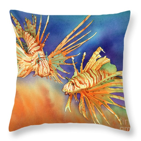 Ocean Lions Throw Pillow by Tracy L Teeter